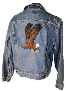 Levi's denim jean jacket sz 42 with EAGLE on back Medium