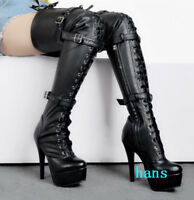 Sexy women biker over the knee thigh high boots high stiletto heels platform new