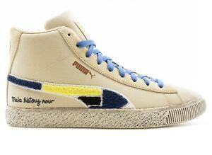 Puma Men's BLACK FIVES CLYDE MID Shoes Creme Brulee 381956-01 f