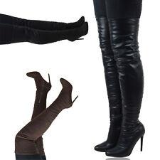 Womens Over The Knee High Stretch Calf Leg High Heel Thigh High Sock Boots Size