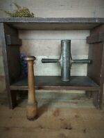Antique Primitive Dough Press Cookie Press Star Mold with Wooden Masher