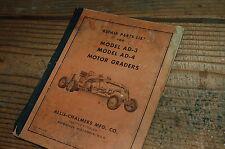 Ac Allis Chalmers Ad3 Ad4 Motor Grader Parts Manual Book Road Catalog Spare Plow
