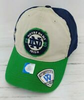 Notre Dame Fighting Irish stretch fit Hat Cap Navy Gold Shamrock fitted new nwt