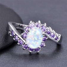 925 Silver Oval Cut White Fire Opal Purple Sapphire Ring Women's Wedding Jewelry