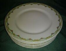 Antique Set of 6 Mandavy de Mavaleix Limges Dinner Plates Greek Key Rose Swag