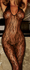 Hustler Black Lace Halterneck Crotchless Bodystocking One Size Sheer see through