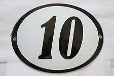 Hausnummer Oval Emaille schwarze Nr. 10  weißer Hintergrund ca 19,5 cm x 15 cm