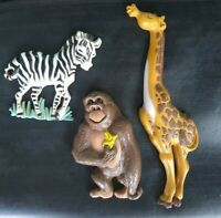 Vintage Burwood Products 1995 Home Interiors JUNGLE ANIMAL Wall Plaques Set of 3