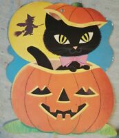 VINTAGE HALLOWEEN DIE-CUT JACK-O-LATERN/BLK CAT/WITCH WALL DECORATION *USED*