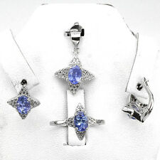 Sterling silver 925  Tanzanite Floral  Pendant, Earring & Ring Sz O.5 US 7.5