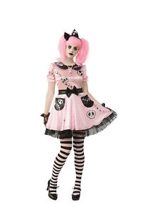 Pink Skelly Skeleton Ghost Doll Zombie Adult Womens Costume NEW