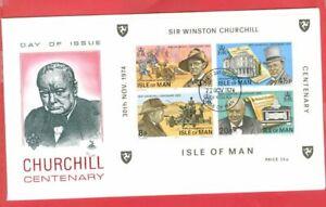 UK GB Regional Isle of Man CHURCHILL S/S & Set om 2 diff FDC Cover