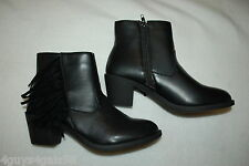 """Womens BLACK ANKLE BOOTS 2"""" Heel FRINGE ACCENT Zipper FAUX LEATHER Size 7"""