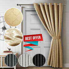 Black Out Grey Door Curtain Thick Thermal Blackout Fabric Room Darkening Drape