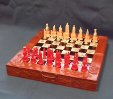 Beautiful Vintage Chess Set Wood Carved Folding Chess Board Inlaid Tiles Drawers