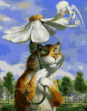16X20'' Paint By Number Cat hold umbrella Acrylic DIY kit On Canvas 1957