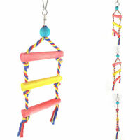 HN- Multi Color Wooden Pet Bird Parrot Hanging Ladder Swing Climbing Toys Cage D