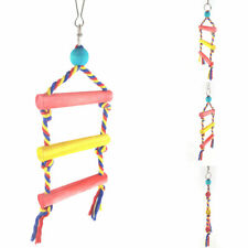 FP- KE_ FT- Multi Color Wooden Pet Bird Parrot Hanging Ladder Swing Climbing Toy