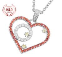 Womens 925 Sterling Silver Link Chain Necklace And Forever Love Heart Pendant S3