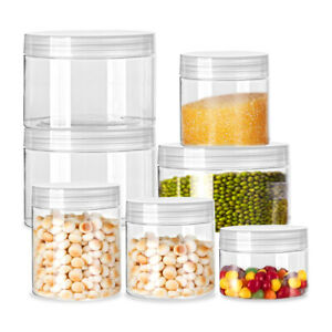 30-150ml Clear PET Plastic Jars Pots Food Crafts Storage Containers Screw Top 1x