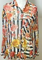Zara Striped & floral Blouse Shirt Size 14 Black Red White Chiffon Floaty Top