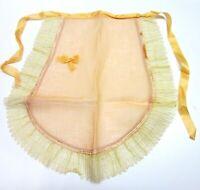 Vtg Antique Half Apron Sheer Peach Lace Ruffle