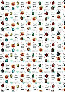 Personalised Among Us Christmas Wrapping Paper