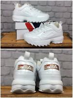 FILA LADIES UK 5 EU 38.5 DISRUPTOR II WHITE PATENT ROSE GOLD CHUNKY TRAINERS