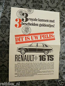 RENAULT 16 TS FLYER  BROCHURE FOLDER DUTCH 2 PAGES CAR AUTO OLDTIMER