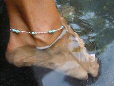 Fd763 Handmade Turquoise Bead Chain Silver Anklet Foot Leg Chain Bracelet 1Pc#