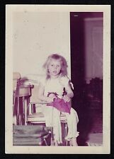 Vintage Photograph Cute Little Girl Sitting in Chair in Retro Room