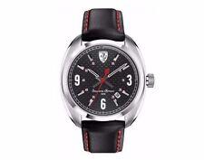 NIB Ferrari Men's Scuderia  Sportiva Black Leather Strap Watch 0830238