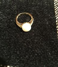 Cultured Freshwater Pearl and White Sapphire 14K Gold Ring