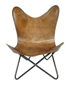 Brown Leather Office Relaxing Chair Indian Home Decor Butterfly Chair S6-155
