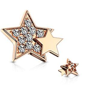 DOUBLE STAR DERMAL ANCHOR TOP BODY PIERCING JEWELRY (INTERNALLY THREADED)