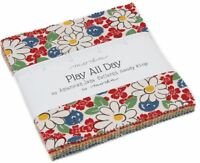 """Play All Day Moda Charm Pack 42 100% Cotton 5"""" Precut Fabric Quilt Squares"""