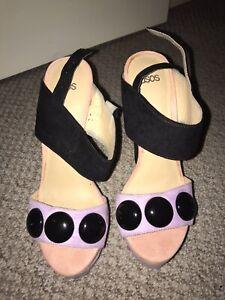ASOS Platform Colour Block Heeled Sandals Size 6