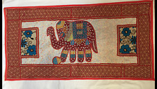 "INDIAN ELEPHANT HAND MADE PATCH WORK EMBROIDERED WALL HANGING 39"" X 20"" ONE ONLY"