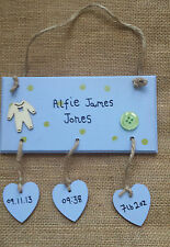 Personalised New 'Baby Boy' Birth Plaque Sign Gift Present New Mum New Born 1st