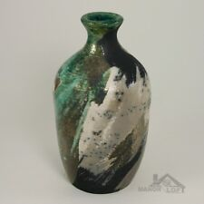 Artist Signed Handcrafted Raku Bottle Vase Pottery RB121810-58 Ron Brigerman