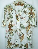 New Cactus Man Ricky Singh Tiger Print Button Front Short Sleeve Shirt Mens Sz M