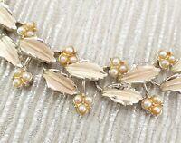 Vintage 1950s Gold Tone Metal + Enamel Leaves Berries Necklace
