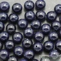 Natural Gold or Blue Sand Gemstone Round Beads 2mm 4mm 6mm 8mm 10mm 12mm 15.5''