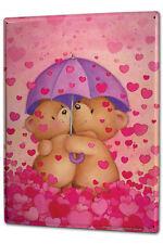 Tin Sign XXL Cartoon Art Fun  Teddy Umbrella heart
