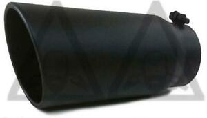 "Black Powder Coated Diesel Exhaust tip 4"" inlet  6"" outlet 15"" long"
