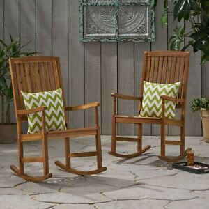 Penny Outdoor Acacia Wood Rocking Chairs (Set of 2)