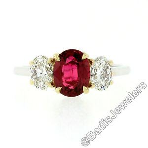 New 18k Gold GIA FINE Vivid Red Oval Ruby & Diamond Three Stone Engagement Ring