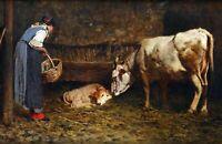The Newborn (Calf) by Italian  Pietro Pajetta. Canvas Animals  13x19 Print