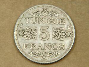 1934 Tunisia 5 Francs Silver Coin