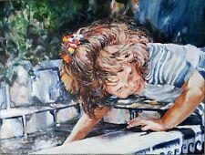 CHILD GIRL ACTION PORTRAIT OIL PAINTING IMPRESSIONISM MODERNISM MODERN POP 40x30